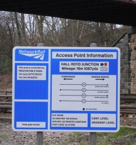 Network Rail Access Point Information Board Hall Royd Junction Mileage 19 miles 1087 yards