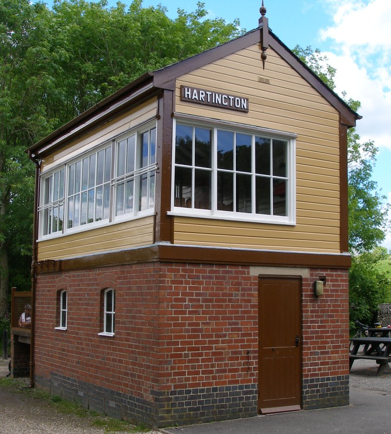 Preserved L&NWR signal box at Hartington on the Tissington Trail 8 June 2014 Three quarters front