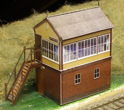 Assembled free downloadable 4mm LNWR Type 5 signal box based on the preserved Hartington box in LMS livery.