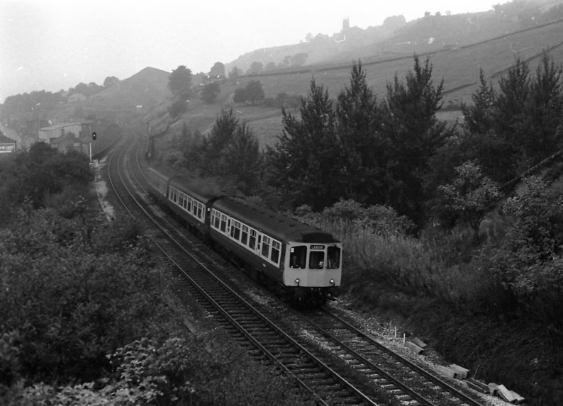 3-car Class 110 DMU in BR blue-and-grey livery  at Horsfall Tunnel with an eastbound service on 28 September 1983