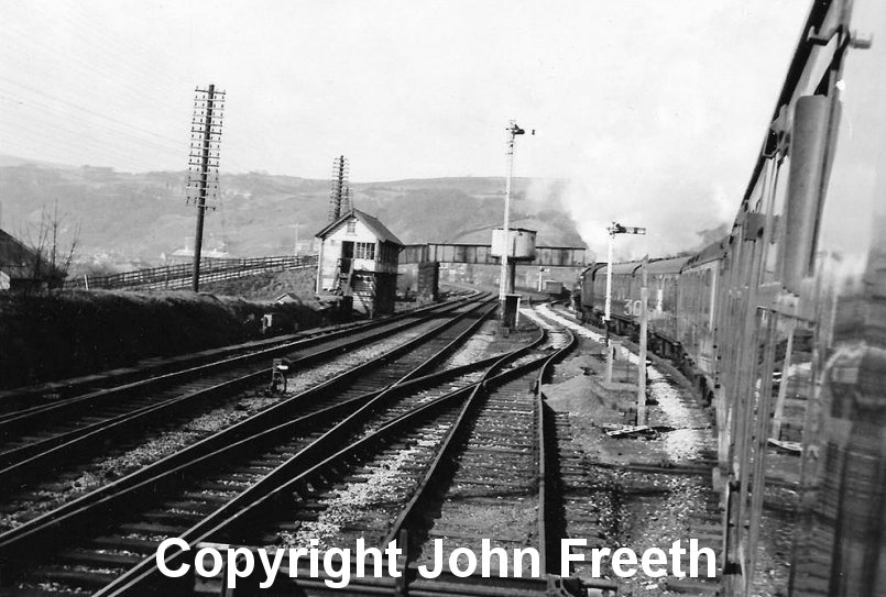 Jubilee 45593 Kohlapur (now preserved) takes the Copy Pit line at Hall Royd Junction (Todmorden) with an Easter Bank Holiday Monday (27 March 1967) excursion train from Bradford Exchange to Blackpool (1X15). Cpyright John Freeth