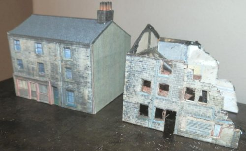 Half demolished house created from downloadable house kit available on Hall-Royd-Junction.co.uk