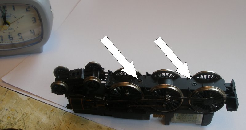 Bachmann Jubilee with Buelher motor conversion to DCC showing screws in keeper plate that have to be removed.