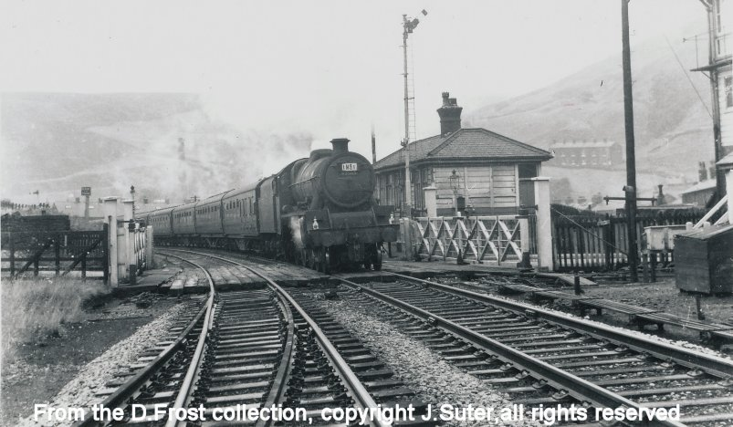 ex_LMS Jubilee 45585 at Portsmouth station with an excursion train in the late 1960s