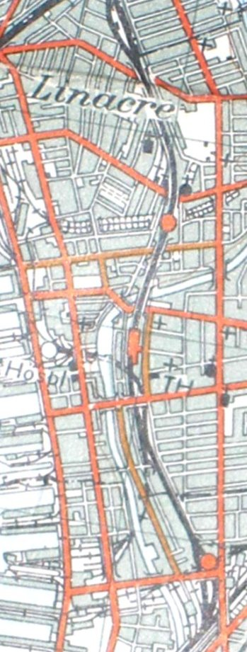 Section from the Ordnance Survey Map 1961 showing railway line from Bootle Oriel Road to Bank Hall railway station.