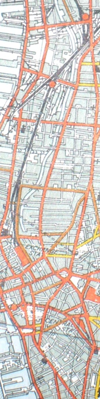 Section from the Ordnance Survey Map 1961 showing railway line from Bank Hall to Liverpool Exchange railway station.
