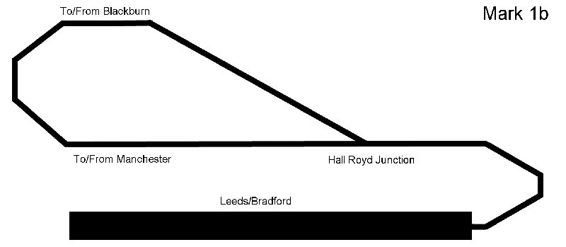 Hall Royd Junction model railway layout schematic showing original dumb-bell configuration with large storage yard