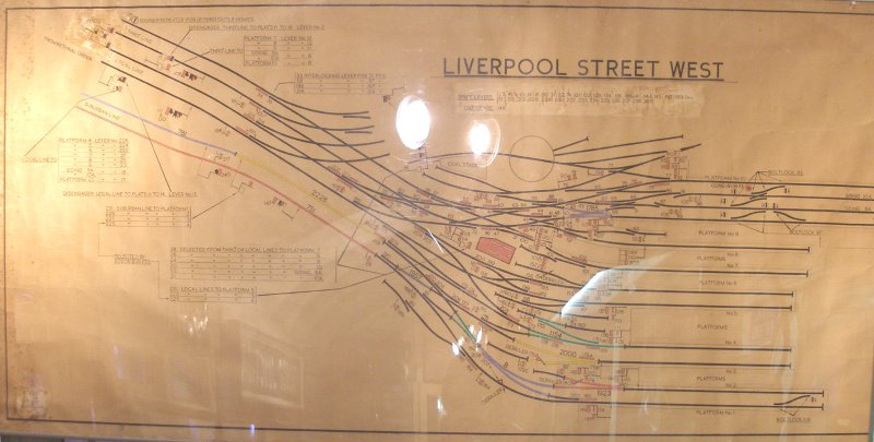 Liverpool Street West Signal Box diagram as seen at Mangapps Farm Railway Museum.