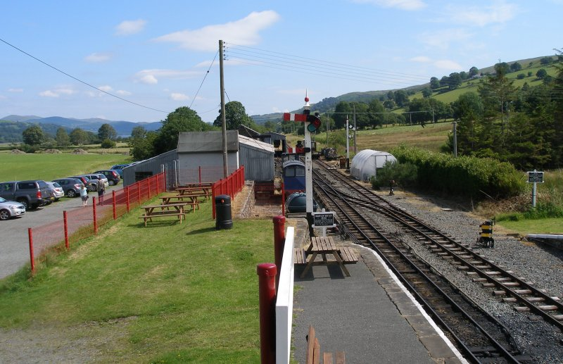 View from Llanuwchllyn Signal Box 16 July 2015 showing LYR 1889 signal (starter) and LYR 1912 signal (Home)
