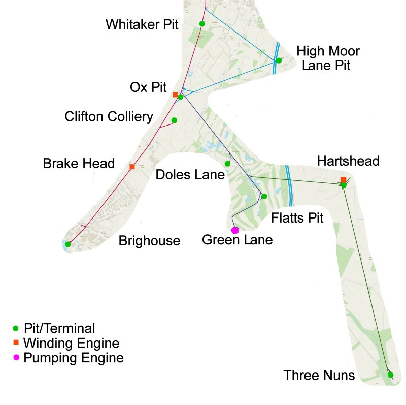 Map of Low Moor Tramway and Clifon Colliery Tramway laid on modern OS mapping