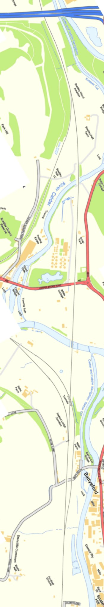 Section from Ordnance Survey OpenSource mapping 2013 showing L&YR railway line from M62 viaduct to Bradley Fold Junction