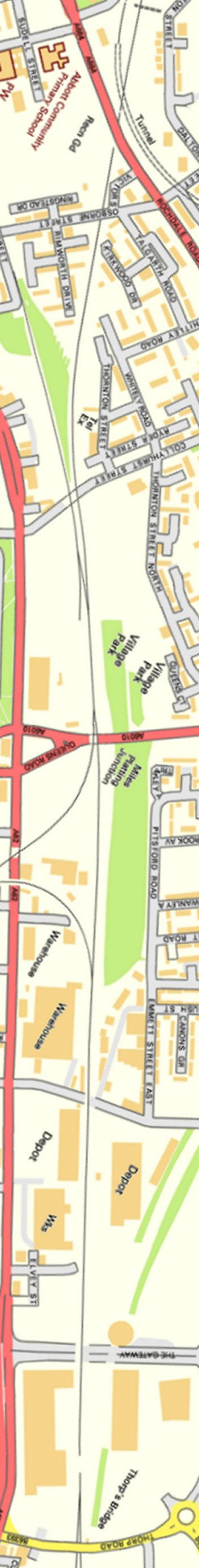 Section from Ordnance Survey OpenSource mapping 2013 showing L&YR railway line from Bromley Street Manchester - Newton Heath