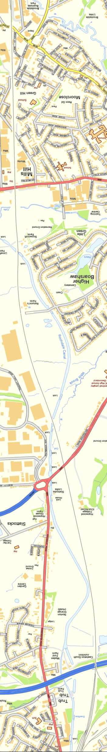 Section from Ordnance Survey OpenSource mapping 2013 showing L&YR railway line from Baytree Lane bridge to Castleton South JUnction (M62 bridge)