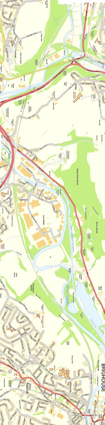 Section from Ordnance Survey OpenSource mapping 2013 showing L&YR railway line from Greetland Junction to Brighouse