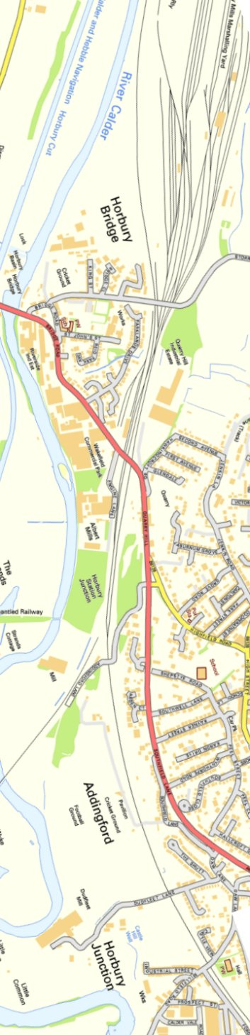 Section from Ordnance Survey OpenSource 2013 showing L&YR railway line Healey Mills Marshalling Yard eastern approaches.