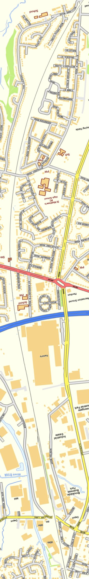 Section from Ordnance Survey OpenSource mapping 2013 showing L&YR railway line from Moston Station to Joshua Lane bridge