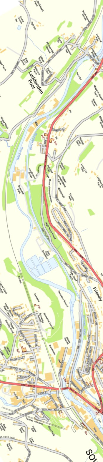 Section from Ordnance Survey OpenSource mapping 2013 showing L&YR railway line from Luddendenfoot to Sowerby Bridge