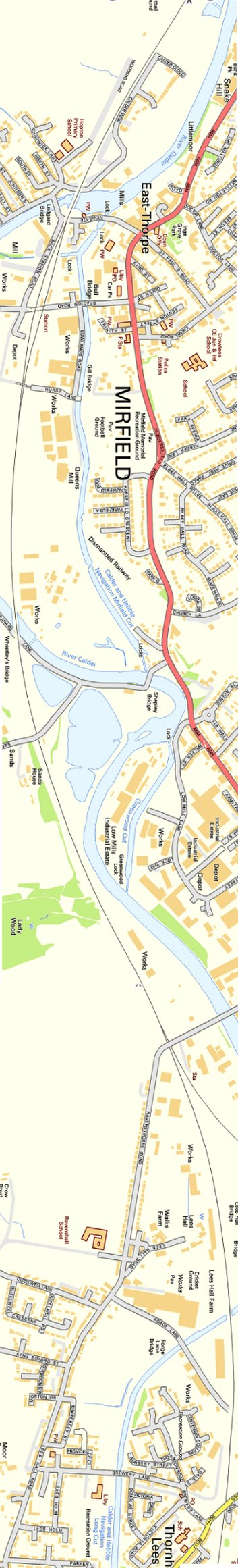 Section from Ordnance Survey OpenSource mapping 2013 showing L&YR railway line from Mirfield to Dewsbury