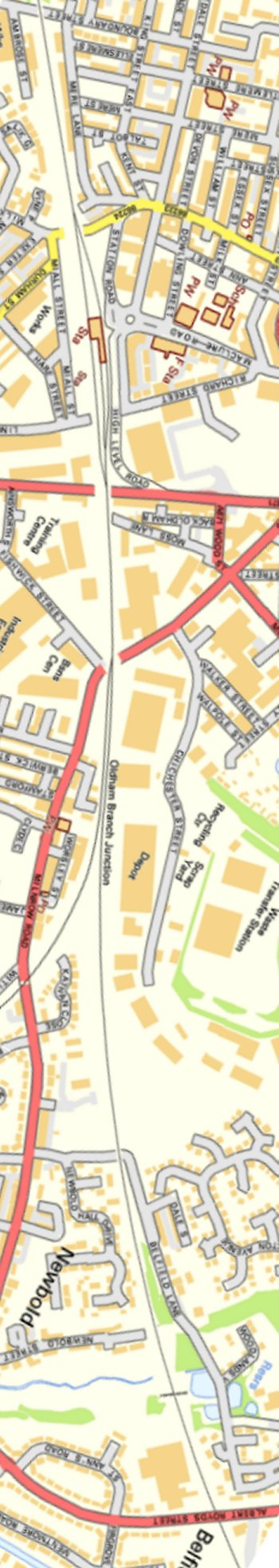 Section from Ordnance Survey OpenSource mapping 2013 showing L&YR railway line at Rochdale Station