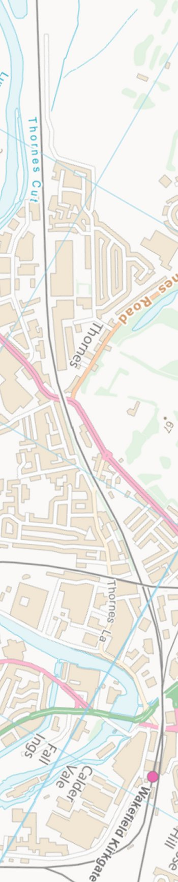 Section from Ordnance Survey OpenSource mapping 2013 showing L&YR railway line around and though Wakefield Kirkgate railway station.