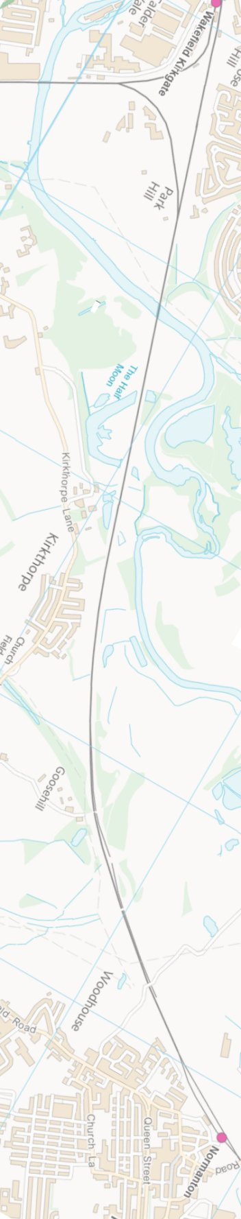Section from Ordnance Survey OpenSource mapping 2013 showing L&YR railway line from Wakefield Kirkgate to Normanton railway station