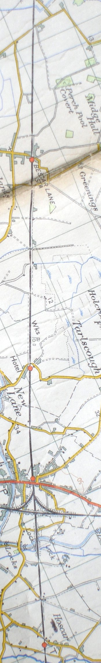Section from the Ordnance Survey map showing L&YR railway line from Bescar Lane to Burscough Bridge Junction
