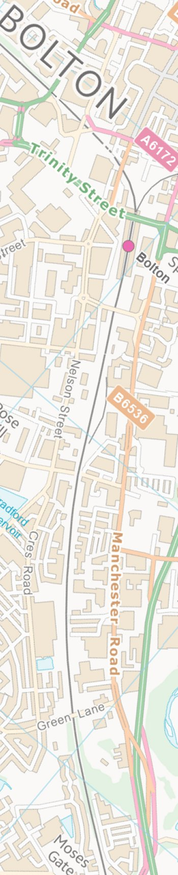 Section from the Ordnance Survey OpenSource mapping 2013 showing L&YR railway line from Bolton Trinity Street to Moses Gate railway station