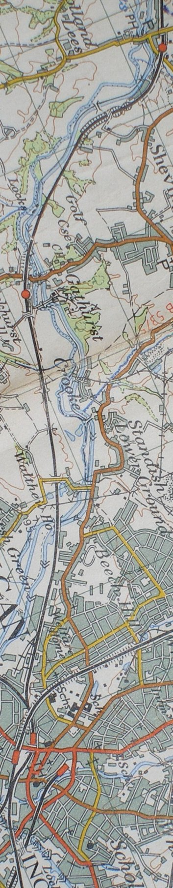 Section from the Ordnance Survey map 1961 showing L&YR railway line from Gathurst to Wigan Wallgate railway station