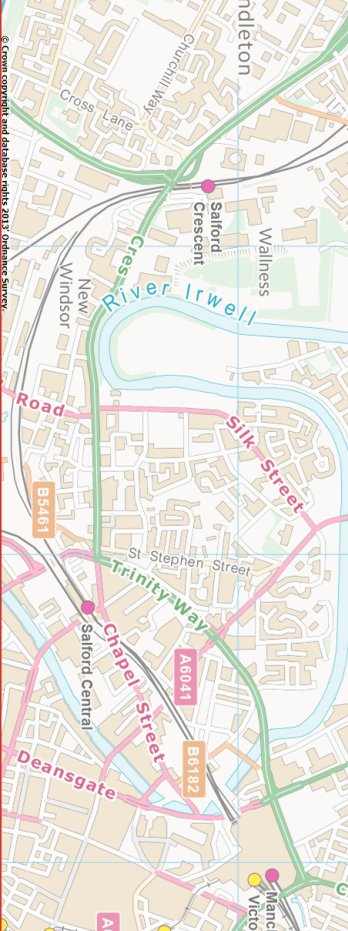 Section from the Ordnance Survey OpenSource map 2013 showing L&YR railway line from Salford to Manchester Victoria railway station