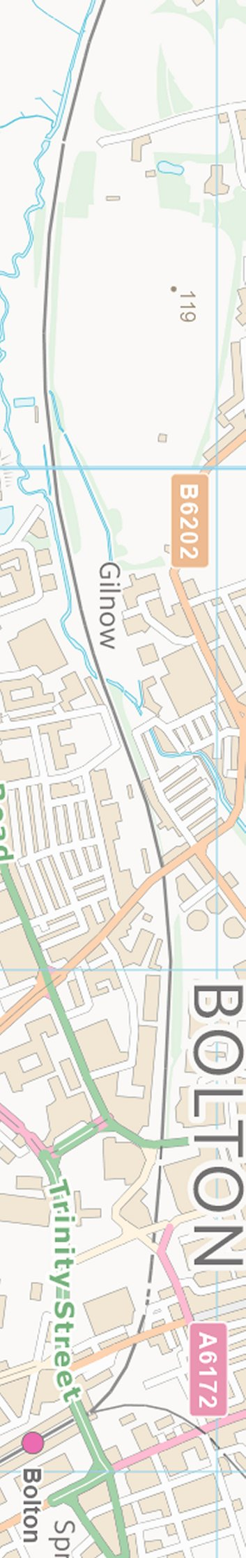 Section from the Ordnance Survey OpenSource mapping 2013 showing L&YR railway line in West Bolton