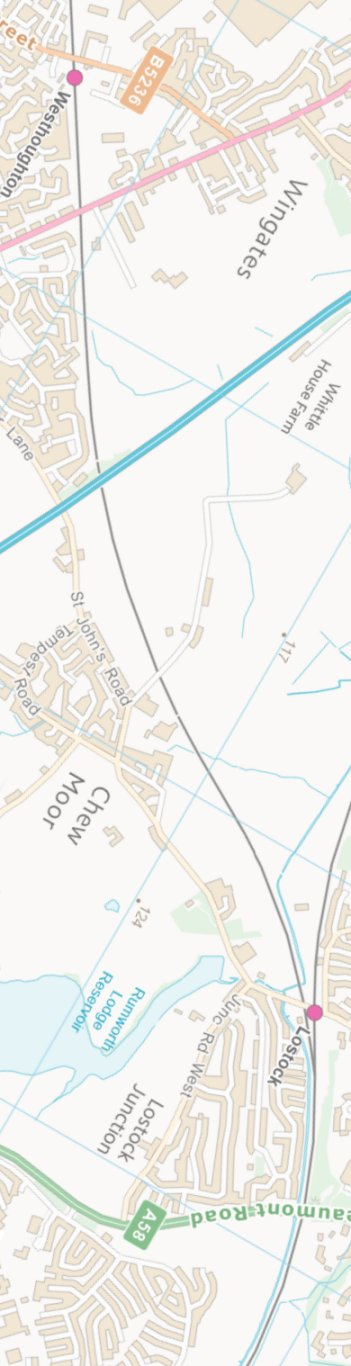 Section from the Ordnance Survey OpenSource mapping 2013 showing L&YR railway line from Westhoughton to Lostock railway station