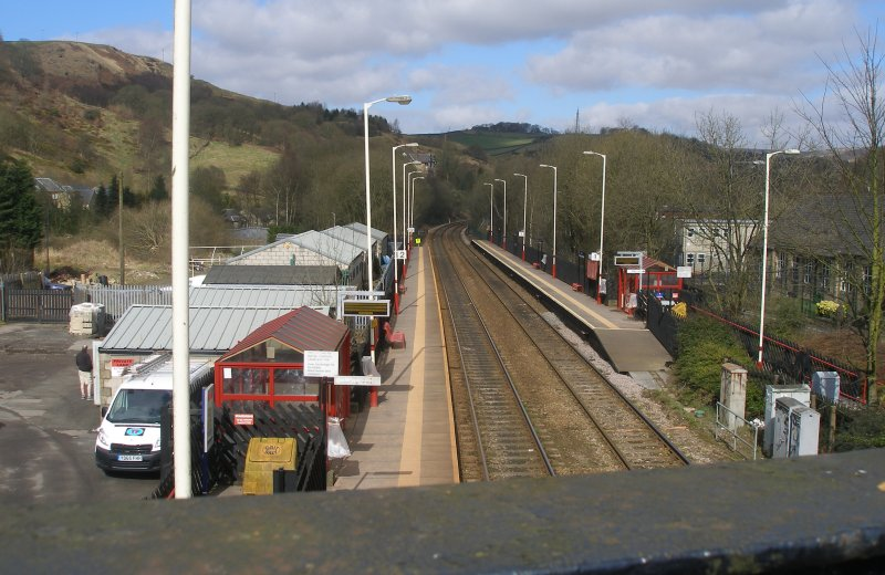 Walsden Station from Footbridge (Bridge 98) surveyed on Friday 25 March 2016.