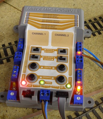 Minx control unit showing point frog wired up, with feeds from the DCC track bus