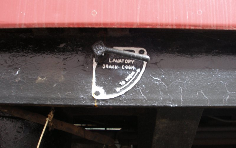 BR Mark 1 coach underframe detail: Lavatory Drain cock and labelling