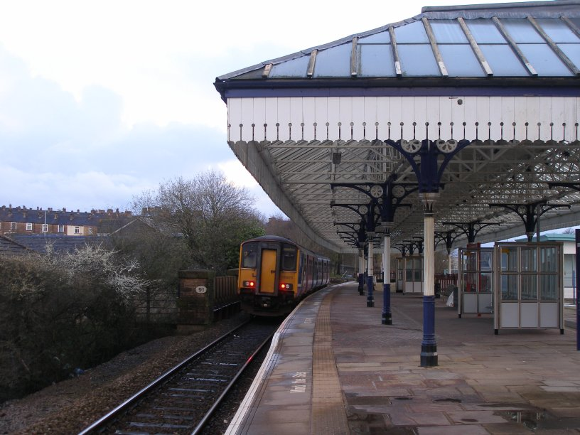 Nelson Station on 22 March 2014 showing train departing for stations to Blackpool South.