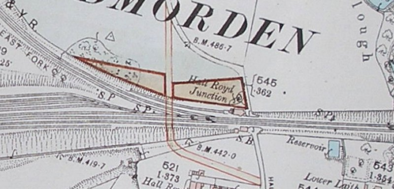 Extract from 1894 OS map showing details of original Hall Royd Junction with planned bridge alignment and level crossing.