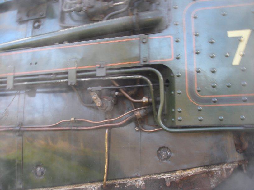 Detail shot of 70014 'Oliver Cromwell' pipes
