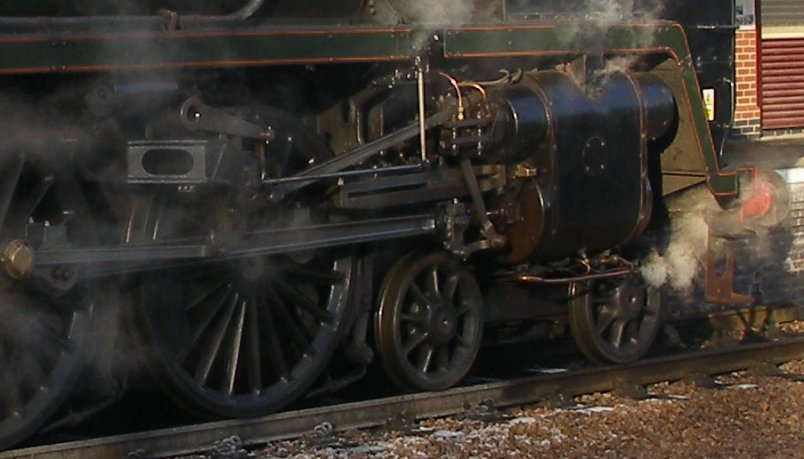 Detail shot of 70014 'Oliver Cromwell' motion, fireman's side