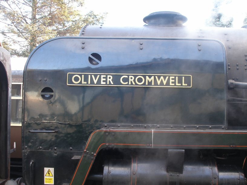 Detail shot of 70014 'Oliver Cromwell' driver side nameplate and deflector