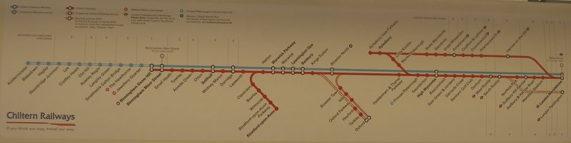 Oxford Parkway Sunday 25 October 2015: route diagram displayed in the train.
