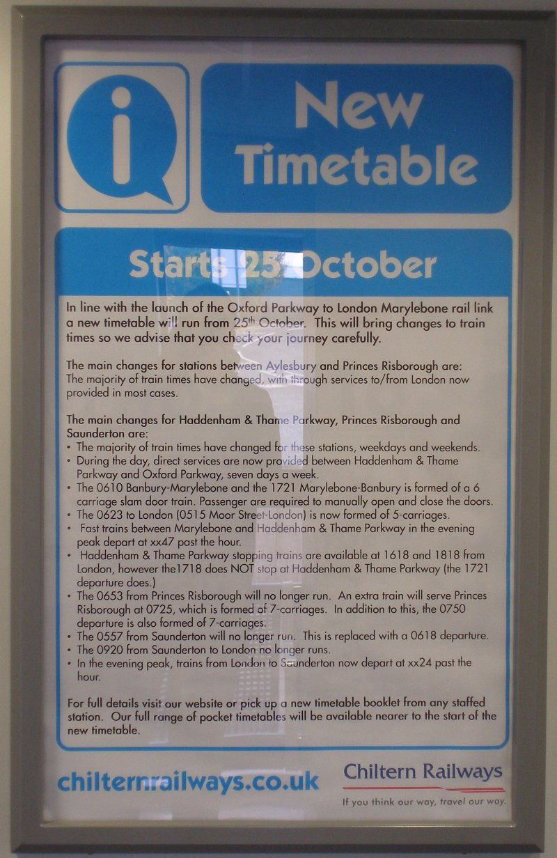 Oxford Parkway Sunday 25 October 2015: notice detailing service changes at Haddenham looking towards Birmingham.
