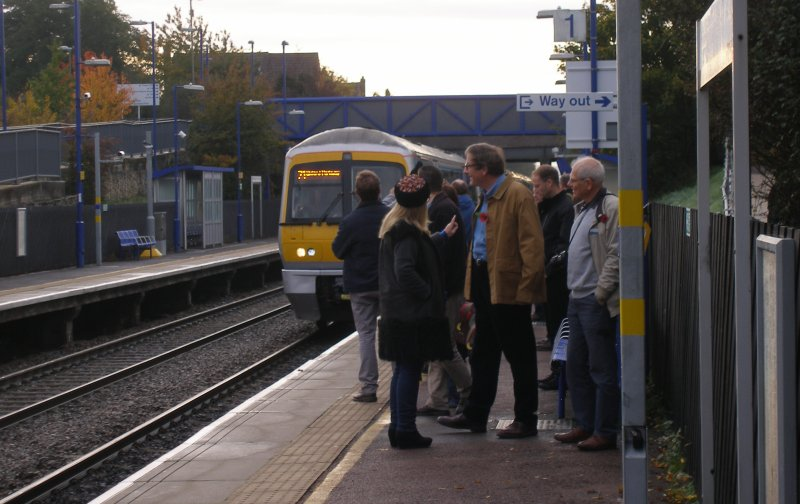 Oxford Parkway Sunday 25 October 2015: first train from London Marylebone to Oxford Parkway runs into Haddenham. Adrian Shooter in the foreground.