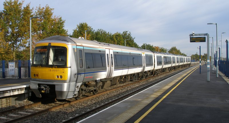 Oxford Parkway Sunday 25 October 2015: first train from London Marylebone to Oxford Parkway standing at Parkway.