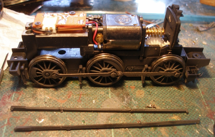 LYR Barton Wright Class 23 0-6-0ST conversion: external brake rodding removed from the donor Bachmann Pannier tank chassis.