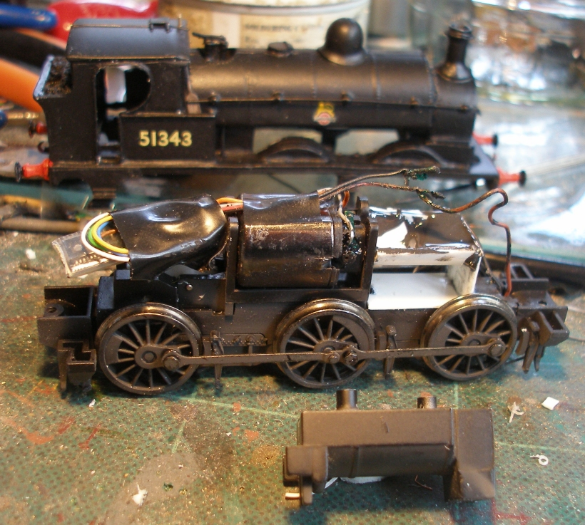 LYR Aspinall Class 23 0-6-0 tank conversion using a Bachmann Pannier tank chassis showing the construction and placing of a false boiler section on the front section of the chassis using 15mm diameter plastic water piping.