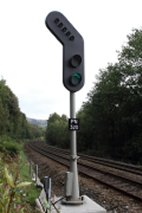 Signal PN320, with feather, on the approaches to Todmorden on the Down L&Y,
