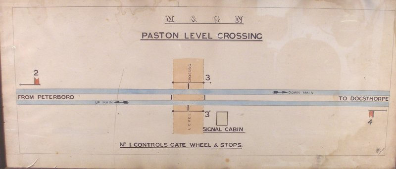 Paston Level Crossing Signal Box (M&GN) diagram as seen at Mangapps Farm Railway Museum.