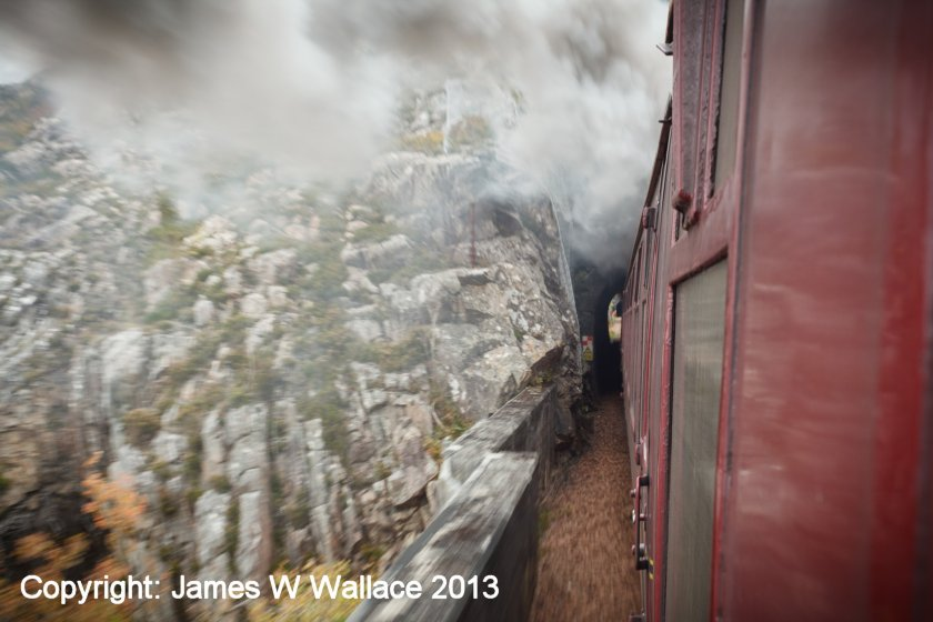 The Jacobite entering a tunnel on the West Highland Extension to Mallaig on 18 Octoiber 2013