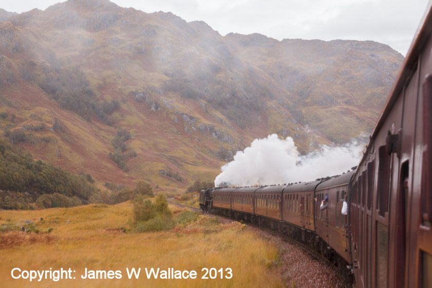 Stanier Black 5 45407 on the return journey: 'The Jacobite' Mallaig - Fort William 19 October 2013