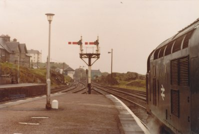 Mallaig on 8 August 1981 showing the two ex-Western Region bracket signals and signal box.